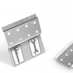 Werkzeugleiste Lochplatte Werkzeugwand selbstklebend 4 Lochpaare - mit Stickerleiste - VE 2Stk.