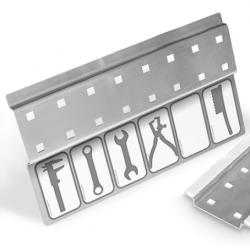 Werkzeugleiste Lochplatte Werkzeugwand selbstklebend 8 Lochpaare - mit Stickerleiste - VE 2Stk.